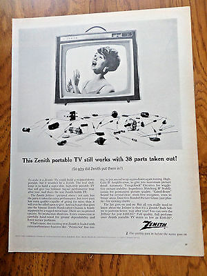1964 Zenith TV Television Ad Still Works 38 Parts out