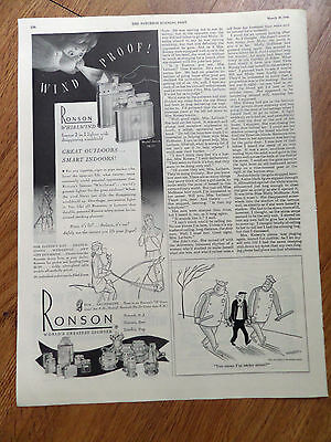 1948 Ronson Cigarette Lighter Ad Ronson Whirlwind Great Outdoors Smart Indoors
