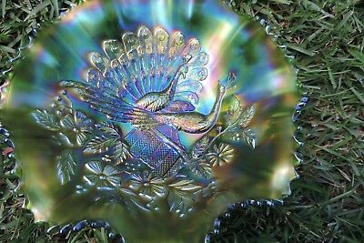 Wow!! Northwood Gorgeous Emerald Green? Peacock On The Fence Ruffle Bowl!!!