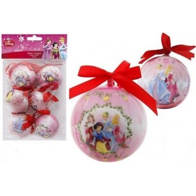 Pack of 6 Disney Princess 6cm Christmas Tree Decorations, Baubles, NEW