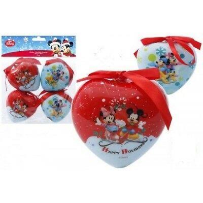 Pack of 4 Disney Mickey Mouse 8cm Heart Christmas Tree Decorations, Baubles, NEW