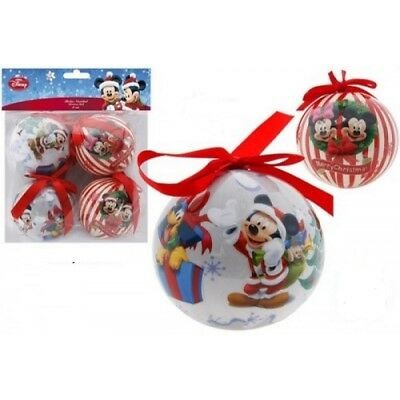 Pack of 4 Disney Mickey Mouse 8cm Christmas Tree Decorations, Baubles, NEW