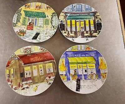"""Sisson Imports China France Revol French Cafe 4 Salad Or Dessert Plates 7 1/2"""""""