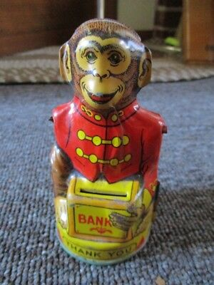 "Vintage TOY TIN LITHO ""MONKEY"" BANK....J CHEIN Co."