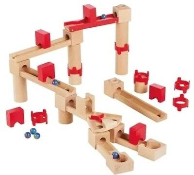 Quality Wooden Toy. Cascade Marble Run With 6 Glass Marbles. 35 Pieces New