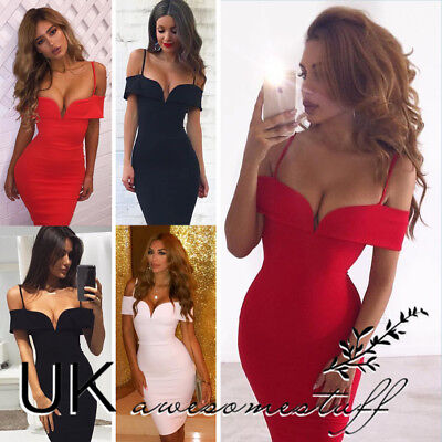 UK Womens Bandeau Plunge Bodycon Dress Ladies Evening Party Midi Dress 6 - 14