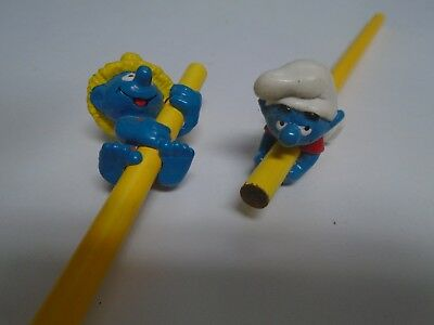 Vintage Smurf Pencil Huggers Lot Of 2