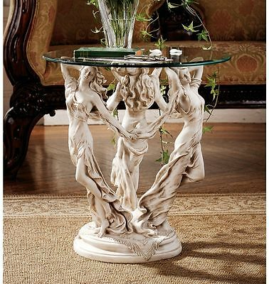 Greek Goddesses of Poetry Art & Science Three Muses Glass Topped Table Sculpture