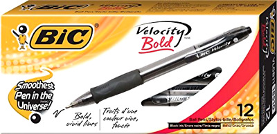 BIC Velocity Bold Retractable Ball Pen, Bold Point (1.6mm), Black, 12-Count,New