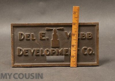 1930s Art Deco Skyscaper Bronze Plaque, Del E. Webb Construction Development Co
