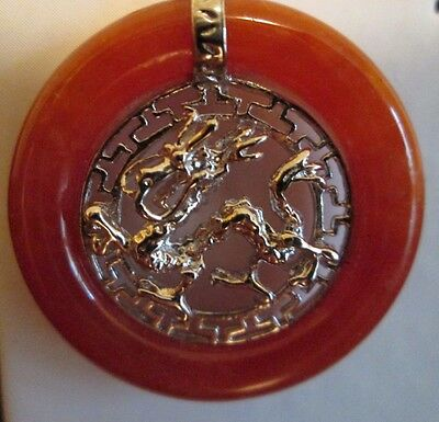 Sterling Silver Chinese Dragon Rust Jade Pendant