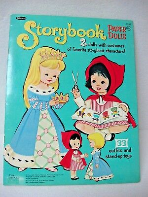 nos 1965 uncut Whitman STORYBOOK PAPER DOLLS Book 2 dolls 33 outfits