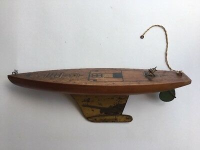 Keystone Wooden Wood Pond Boat Ship No Sails Or Rigging Green Rudder