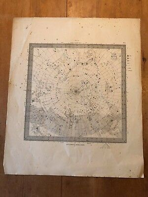 Antique 1830 Letts, Son & Co Ltd Astrology Astronomy Constellation Chart Map (1)