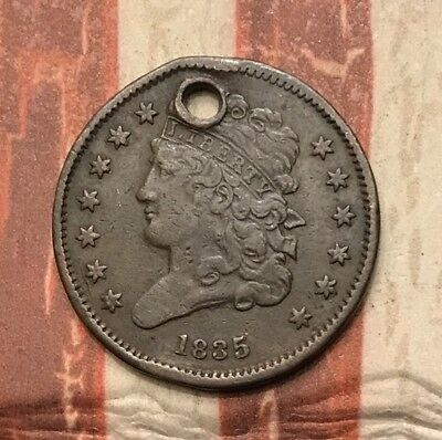 1835 Classic Head Half Cent Vintage US Copper Coin #AX54 Rare Key Date
