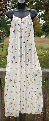 Vintage 80s MARY MCFADDEN LINGERIE Sheer Chiffon NIGHTGOWN sz L Long GOWN