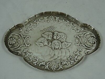 PRETTY `CHERUB` solid silver TRINKET DISH, 1992, 47gm