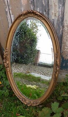 Gorgeous Antique French C19th Gilt Oval Mirror with Beaded Edge, Bevelled Glass