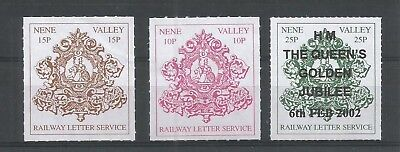 Nene Valley Railway - 3 different railway letter stamps as per scan.