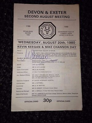 racecard devon and exeter 1980 keegan channon day signed by mick channon