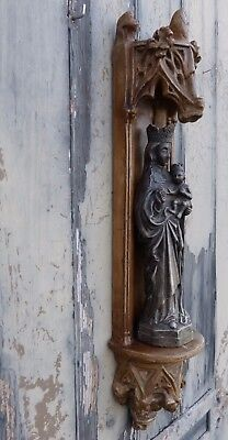 Gothic Faux Stone Wall Niche with Gargoyles and Madonna & Child Figurine