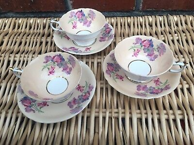 Beautiful Vintage Paragon Trio Of Cup And Saucers Floral Sweet Pea