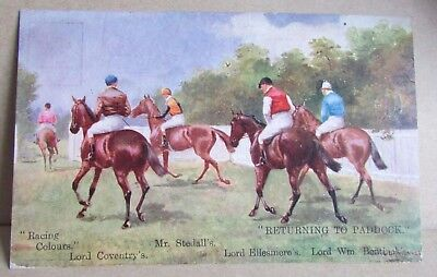 1906 Race Horse Racing Colours Postcard - Returning To Paddock