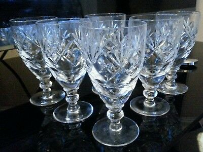 Royal Doulton Sherry Wine Crystal Glass Georgian Pattern Set 6 Signed