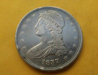 1837 Capped Bust Half Dollar ext reverse die crack old silver 50C