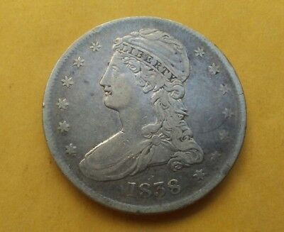 1838 Capped Bust Half Dollar old silver 50C