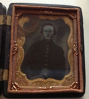 Named Tintype Photograph U.S. soldier 1871 post-Civil War in Scovill case