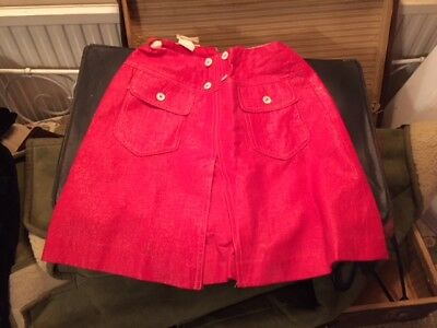 Vintage red 1960s PVC mini skirt A-line patch pockets Mary Quant style