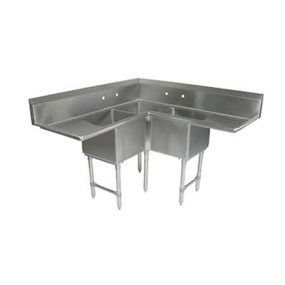 Damaged - New Surplus - Sink, 3 Three Compartment, John Boos E3BCS-244-2D24-X