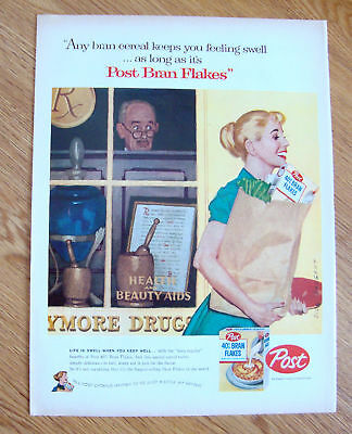 1957 Post Cereal Ad Sargent Artwork Housewife