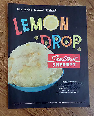 1957 Sealtest Sherbet Ad  Lemon Drop