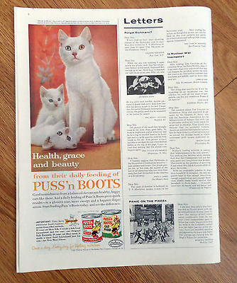 1961 Puss 'n Boots Cat Food Ad Melody in White