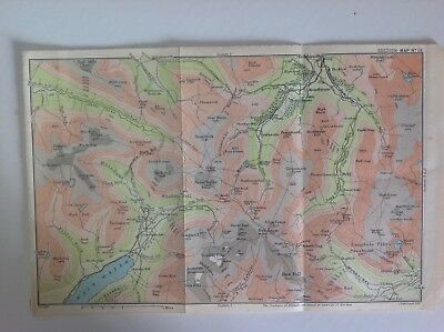 Wastwater, Scafell, Dungeon Gill, &c, 1895, Antique Map, Bartholomew, Original