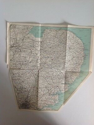 Cambridge And Eastern Counties, 1908, Antique Map, Bartholomew, Original