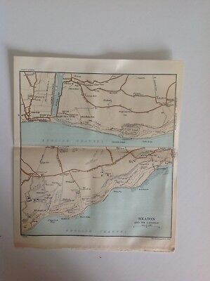 Seaton And The Landslip, 1914,  Antique Map, Bartholomew, Original