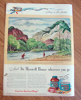 1946 Maxwell House Coffee Ad Fishing in the Rockies  Up Chalk Canyon by Dehn