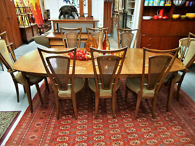 Mid Century Modern Italian Atomic Dining Table W/4 Leaves & 8 High Back Chairs