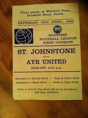 St Johnstone Poster Last game at Muirton Park