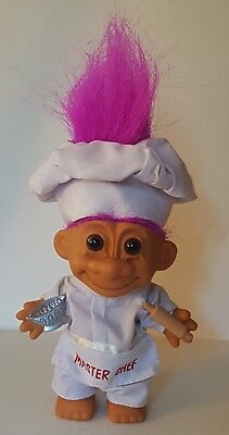 """Culinary """"master Chef"""" Cook Russ 5"""" Troll Doll - Colander & Rolling Pin"""