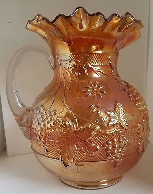 Antique Dugan Marigold Carnival Glass Pitcher = Banded Pattern - Grapes & Flower
