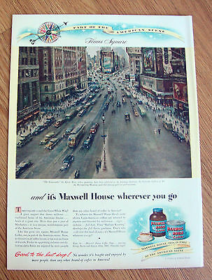 1946 Maxwell House Coffee Ad  Times Square The Crossroads by Alfred Mira