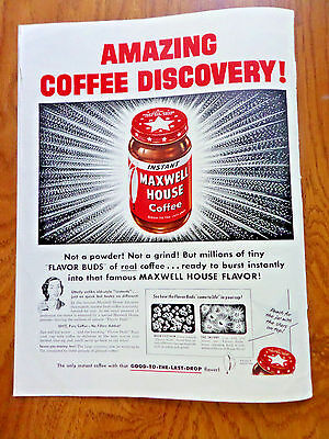 1953 Maxwell House Coffee Ad Amazing Coffee Discovery   Instant