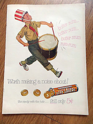 1953 Life Savers Candy Ad  Marching Band Drummer    Butter Rum