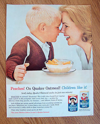 1963 Quaker Oats Cereal Ad  Peaches  Children Like it