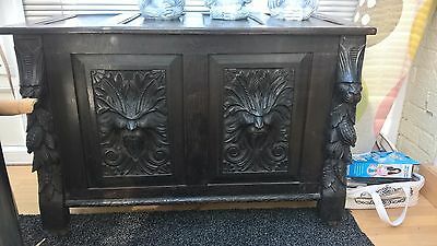 Antique old coffer trunk large chest carved wood dark oak for sale
