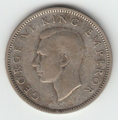 1943 New Zealand  6 pence George VI 50% silver